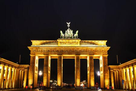 Brandenburg gate (Brandenburger Tor) in Berlin, Germany at night