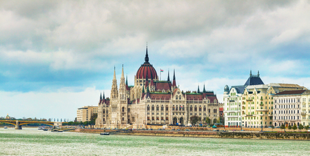 Panorama of Parliament building in Budapest, Hungary