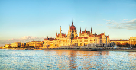 Parliament building panorama in Budapest, Hungary