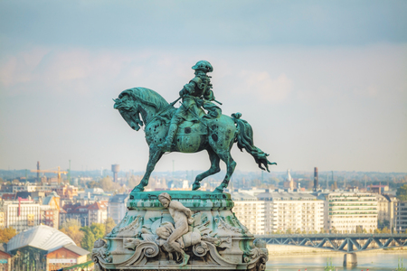 statesman: BUDAPEST - OCTOBER 21: Statue of Prince Eugene of Savoy at the Royal Castle on October 21, 2014 in Budapest, Hungary. He was a general and statesman of the Holy Roman Empire and the Austrian monarchy Editorial
