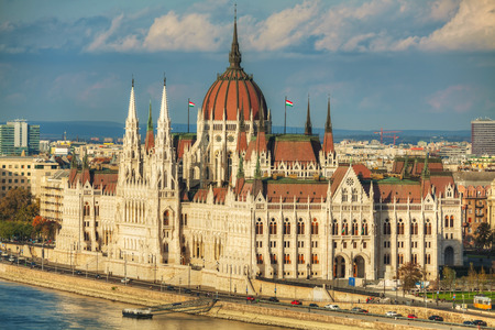 Parliament building in Budapest, Hungary on a cloudy day photo