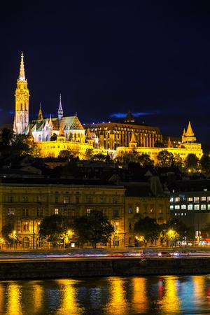 matthias church: Old Budapest with St. Matthias church at night