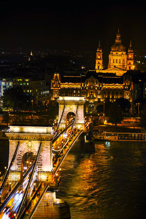 chain bridge: Overview of Budapest with the Szechenyi Chain Bridge in Budapest