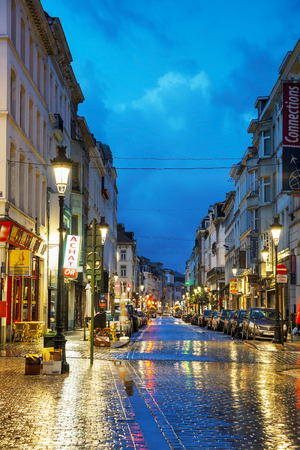 facto: BRUSSELS - OCTOBER 6, 2014: Rue du Midi in the morning on October 6, 2014 in Brussels, Belgium. Brussels is the capital and largest city of Belgium and the de facto capital of the European Union (EU).