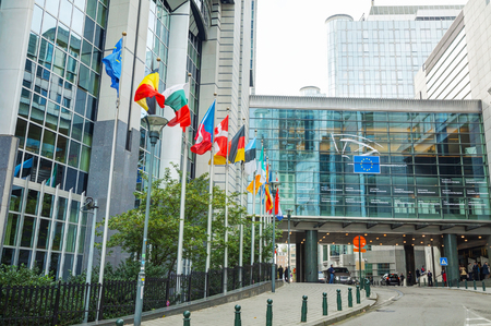 eu: BRUSSELS - OCTOBER 7, 2014: European Parliament building on October 7, 2014 in Brussels, Belgium. The European Parliament is the directly elected parliamentary institution of the European Union (EU).
