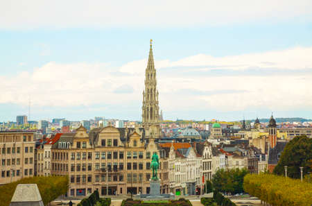 Overview of Brussels, Belgium on a cloudy day Editorial
