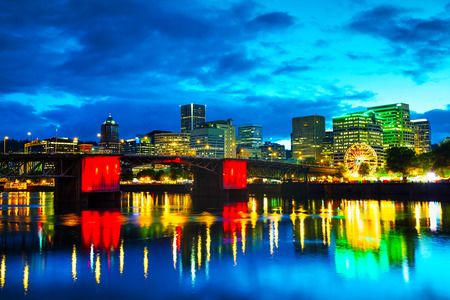 morrison: Downtown Portland, Oregon cityscape at the night time