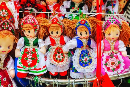 magyar: BUDAPEST - OCTOBER 22: Traditional magyar dolls on October 22, 2014 in Budapest, Hungary. A great variety of dolls are sold at the old quarters in Budapest. Editorial