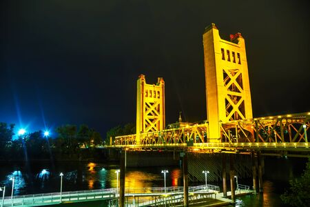drawbridge: Golden Gates drawbridge in Sacramento at the night time