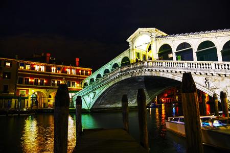 rialto bridge: Rialto Bridge (Ponte Di Rialto) in Venice, Italy at night time