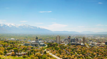 salt lake city: Salt Lake City panoramic overview on a sunny day Stock Photo