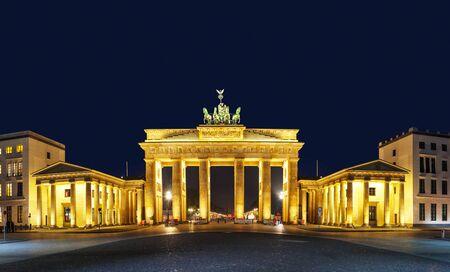 Panoramic view of Brandenburg gate (Brandenburger Tor) in Berlin, Germany at night Editorial