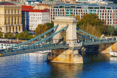 szechenyi: La cadena de Szechenyi Puente en Budapest, Hungr�a