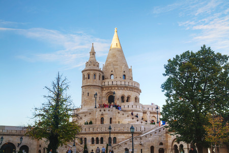fisherman bastion: BUDAPEST - OCTOBER 21: Fisherman bastion on October 21, 2014 in Budapest, Hungary. Its a terrace in neo-Gothic and neo-Romanesque style situated on the Buda bank of the Danube
