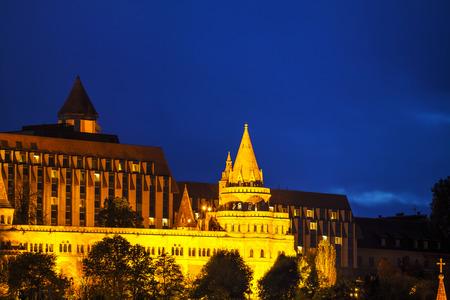 bastion: Fisherman bastion in Budapest, Hungary at night