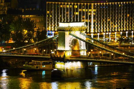 szechenyi: The Szechenyi Chain Bridge in Budapest, Hungary