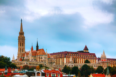 matthias church: Old Budapest with St. Matthias church in the evening Editorial