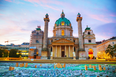 St. Charless Church (Karlskirche) in Vienna, Austria at sunrise