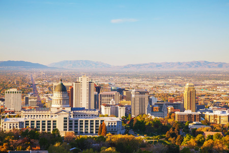 Salt Lake City panoramic overview in the morning Stock Photo