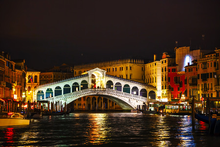 venice: Rialto Bridge (Ponte Di Rialto) in Venice, Italy at night time