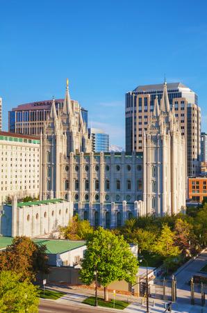 ut: Mormons Temple in Salt Lake City, UT in the evening
