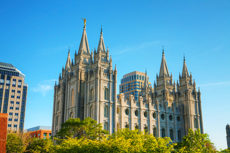 templo: Mormones Templo en Salt Lake City, UT en la noche