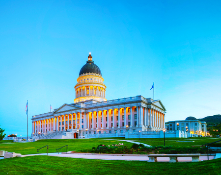 salt lake city: Utah state capitol building in Salt Lake City in the night Editorial