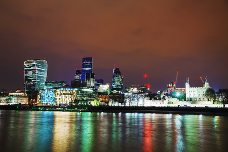 financial district: Financial district of the City of London in the night
