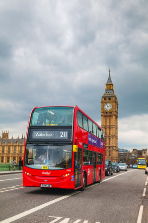 double decker: LONDON - APRIL 4: Iconic red double decker bus on April 4, 2015 in London, UK. The London Bus is one of Londons principal icons, the archetypal red rear-entrance Routemaster being recognised worldwide.