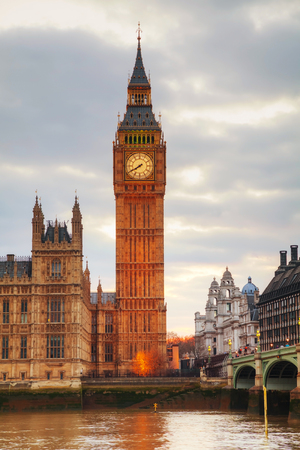London with the Clock Tower and Houses of Parliament at sunset