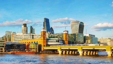 financial district: Financial district panorama of London city on a sunny day
