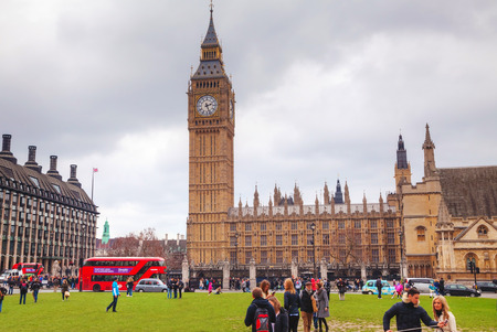 parliament square: LONDON - APRIL 4: Parliament square with people in city of Westminster on April 4, 2015 in London, UK. Its a square at the northwest end of the Palace of Westminster in London. Editorial