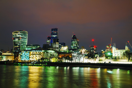 Financial district of the City of London in the night