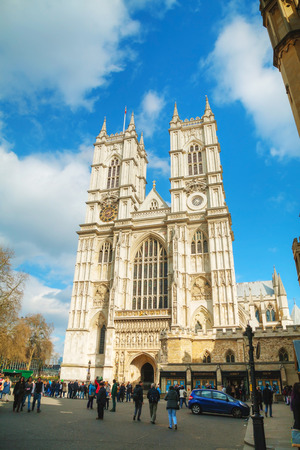 notable: LONDON - APRIL 5: Westminster Abbey church (Collegiate Church of St Peter at Westminster) on April 5, 2015 in London, UK.  It is one of the most notable religious buildings in the United Kingdom. Editorial