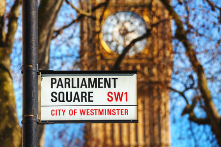 parliament square: LONDON - APRIL 12: Parliament square sign in city of Westminster on April 12, 2015 in London, UK. Its a square at the northwest end of the Palace of Westminster in London.
