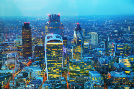 london skyline: Aerial overview of the City of London financial ddistrict at night