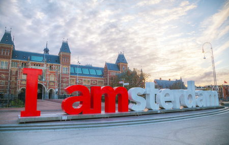 AMSTERDAM - APRIL 16: I Amsterdam slogan on April 16, 2015 in Amsterdam, Netherlands. Located at the back of the Rijksmuseum on Museumplein, the slogan quickly became a city icon. Редакционное