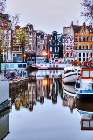 Overzicht van Amsterdam, Nederland in de ochtend Stockfoto