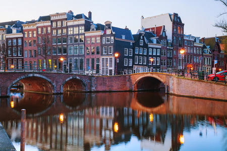 the netherlands: Night city view of Amsterdam, the Netherlands
