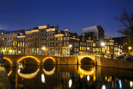 Night city view of Amsterdam, the Netherlands