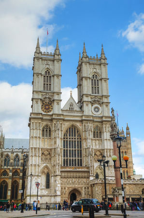 collegiate: LONDON - APRIL 5: Westminster Abbey church (Collegiate Church of St Peter at Westminster) on April 5, 2015 in London, UK.  It is one of the most notable religious buildings in the United Kingdom. Editorial