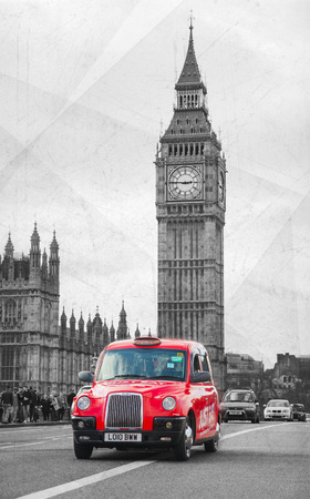 hack: LONDON - APRIL 5: Famous taxi cab (hackney) an a street on April 5, 2015 in London, UK. A hackney or hackney carriage (a cab, black cab, hack or London taxi) is a carriage or automobile for hire.