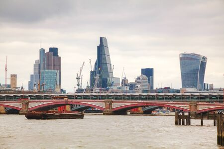 financial district: Financial district of London city on an overcast day Stock Photo