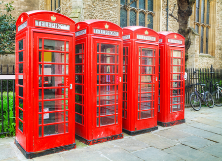 Famous red telephone booths in Cambridge, UK