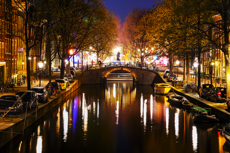 night view: Night city view of Amsterdam, the Netherlands