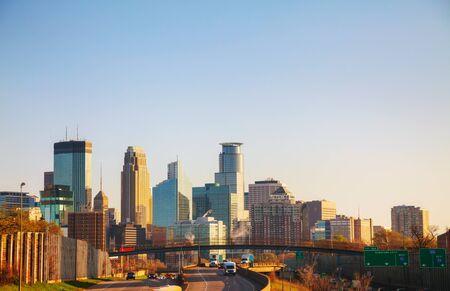 minnesota: Downtown Minneapolis, Minnesota in the morning Stock Photo