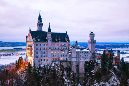 winter palace: Neuschwanstein castle in Bavaria, Germany at winter time Editorial