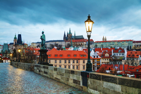 vitus: Overview of Prague with St Vitus Cathedral at sunrise Stock Photo