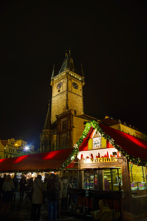 existence: PRAGUE - DECEMBER 2: Decorated for Christmas Old Town Square on December 2, 2015 in Prague, Czech Republic. Prague has been a political, cultural, and economic centre during its 1,100-year existence. Editorial