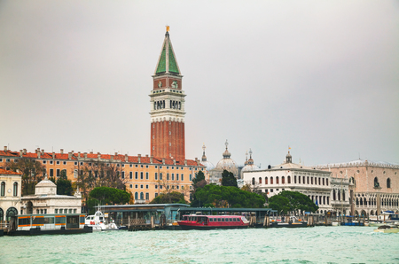 the campanile: Bell tower (Campanile) at St Mark square in Venice, Italy
